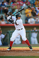 Florida Fire Frogs designated hitter Alex Jackson (25) at bat during a game against the Daytona Tortugas on April 6, 2017 at Osceola County Stadium in Kissimmee, Florida.  Daytona defeated Florida 3-1.  (Mike Janes/Four Seam Images)