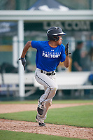 Marcus Wilson (24), from Rutherford, New Jersey, while playing for the Dodgers during the Baseball Factory Pirate City Christmas Camp & Tournament on December 29, 2017 at Pirate City in Bradenton, Florida.  (Mike Janes/Four Seam Images)