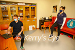 Sinead McElligott, HSE Exercise Facilitator with Darragh O'Hanlon taking part in the Better Balance Better Bones exercise through Zoom on Monday