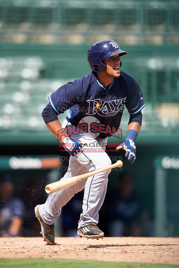 Tampa Bay Rays Rene Pinto (5) during an Instructional League game against the Baltimore Orioles on September 19, 2016 at Ed Smith Stadium in Sarasota, Florida.  (Mike Janes/Four Seam Images)