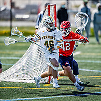1 May 2021: University of Vermont Catamount Attacker Liam Limoges, a Senior from Toronto, Ontario, in action against the Stony Brook University Seawolves at Virtue Field in Burlington, Vermont. The Cats edged out the Seawolves 14-13 with less than one second to play in their America East Men's Lacrosse matchup. Mandatory Credit: Ed Wolfstein Photo *** RAW (NEF) Image File Available ***