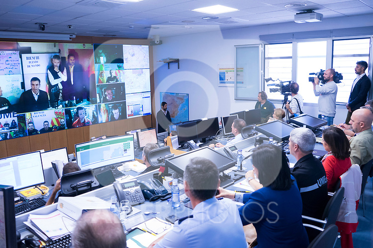 President of Government of Spain Pedro Sanchez during a video call with Defense Minister of Spain Margarita Robles in the Military Emergency Unit (UME) on account of heavy floods in the west of Spain. September 14, 2019. (ALTERPHOTOS/Francis Gonzalez)