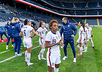 SOLNA, SWEDEN - APRIL 10: Crystal Dunn #19 of the USWNT gets set for the game before a game between Sweden and USWNT at Friends Arena on April 10, 2021 in Solna, Sweden.