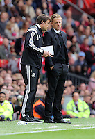"Pictured L-R: Josep ""Pep"" Clotet and manager Garry Monk of Swansea.  Saturday 16 August 2014<br />