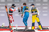 29th December 2020; Stelvio, Bormio, Italy; FIS World Cup Super G for Men;  left to right: second placed Vincent Kriechmayr of Austria winner Ryan Cochran Siegle of the USA third placed Adrian Smiseth Sejersted of Norway celebrate with Champagne during the winners ceremony