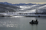 Fishermen enjoy the first day of fishing Jan. 1, 2003 at Topaz Lake, near the Nevada/California border. .Photo by Cathleen Allison/Copyright Nevada Appeal