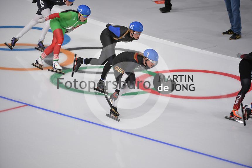 OLYMPIC GAMES: PYEONGCHANG: 24-02-2018, Gangneung Oval, Long Track, Mass Start Ladies, Saskia Alusalu (EST), Claudia Pechstein (GER), ©photo Martin de Jong