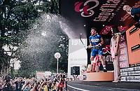 champaign shower by Elia Viviani (ITA/QuickStep Floors) who wins his 3rd stage in this sedition of the Giro<br /> <br /> stage 13 Ferrara - Nervesa della Battaglia (180km)<br /> 101th Giro d'Italia 2018