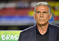 SAO PAULO – BRASIL, 19-06-2019: Carlos Queiroz técnico de Colombia gesticula durante partido de la Copa América Brasil 2019, grupo B, entre Colombia y Catar jugado en el Estadio Morumbí de Sao Paulo, Brasil. / Carlos Queiroz coach of Colombia gestures during the Copa America Brazil 2019 group B match between Colombia and Qatar played at Morumbi stadium in Sao Paulo, Brazil. Photos: VizzorImage / Julian Medina / Contribuidor
