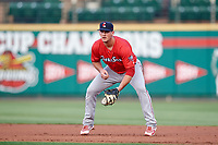 Pawtucket Red Sox first baseman Mike Ohlman (16) during a game against the Rochester Red Wings on July 4, 2018 at Frontier Field in Rochester, New York.  Pawtucket defeated Rochester 6-5.  (Mike Janes/Four Seam Images)