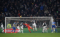 Calcio, Serie A: Juventus - Parma, Turin, Allianz Stadium, January 19, 2020.<br /> Parma's Andreas Cornelius (r) scores during the Italian Serie A football match between Juventus and Parma at the Allianz stadium in Turin, January 19, 2020.<br /> UPDATE IMAGES PRESS/Isabella Bonotto