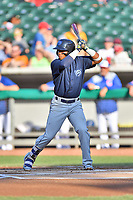 Mobile BayBears shortstop Luis Rengifo (9) awaits a pitch during a game against the Tennessee Smokies at Smokies Stadium on June 2, 2018 in Kodak, Tennessee. The BayBears defeated the Smokies 1-0. (Tony Farlow/Four Seam Images)