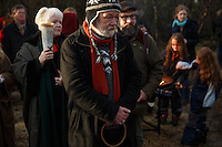 Hilmar Örn Hilmarsson and other members of Iceland's neo-pagan Ásatrúarfélagið or Asatru association  during the ceremony at the hight of the  solar eclipse in Reykjavik Iceland