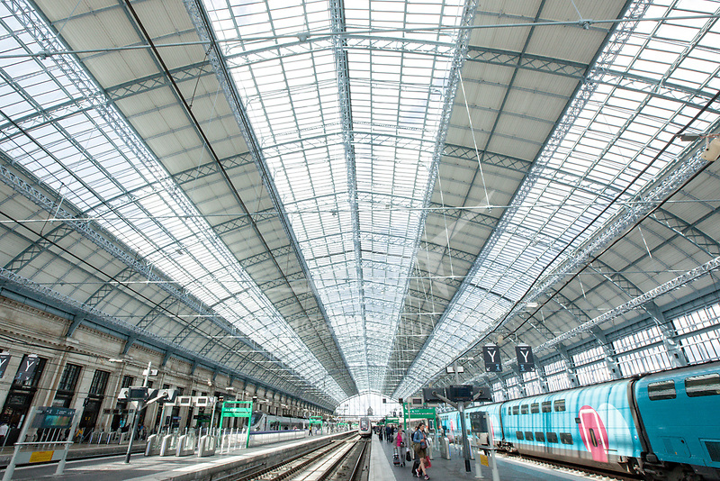 Gare Saint Jean. Saint Jean train station.<br /> Bordeaux is a port city on the Garonne in the Gironde department in Southwestern France.<br /> It is the capital of the Nouvelle-Aquitaine region, as well as the prefecture of the Gironde department.
