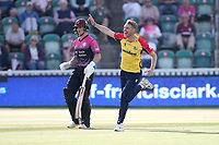 Jamie Porter of Essex celebrates with his team mates after taking the wicket of Roelof van der Merwe during Somerset vs Essex Eagles, Vitality Blast T20 Cricket at The Cooper Associates County Ground on 9th June 2021