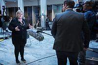 Press conference with Prime Minister Erna Solberg to present the Corona commission set up to evaluate the Norwegian response to the crisis. <br /> <br /> Norwegian authorites introduced strict measures to combat the Coronavirus (COVID-19) in March 2020. <br /> <br /> <br /> ©Fredrik Naumann/Felix Features<br /> <br /> <br /> Pressekonferanse om koronakrisen og den nyoppnevnte Koronakommisjonen<br /> Statsminister Erna Solberg og helse- og omsorgsminister Bent Høie inviterer til pressekonferanse sammen med lederen for den nyoppnevnte Koronakommisjonen, Stener Kvinnsland.