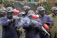 Pictured: Players practicing. Tuesday 25 January 2011<br /> Re: Swansea City FC footballers and staff have spend a morning at Teamforce Paintball in Llangyfelach near Swansea south Wales.