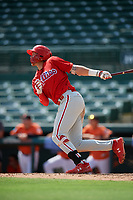 Philadelphia Phillies Alec Bohm (18) follows through on a swing during a Florida Instructional League game against the Baltimore Orioles on October 4, 2018 at Ed Smith Stadium in Sarasota, Florida.  (Mike Janes/Four Seam Images)