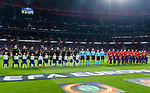 The teams line up for the UEFA Europa League quarter final leg one match between Atletico Madrid and Sporting CP at Wanda Metropolitano on April 5, 2018 in Madrid, Spain. Photo by Diego Souto / Power Sport Images