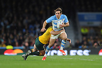 Juan Imhoff of Argentina is brought down by Bernard Foley of Australia during the Semi Final of the Rugby World Cup 2015 between Argentina and Australia - 25/10/2015 - Twickenham Stadium, London<br /> Mandatory Credit: Rob Munro/Stewart Communications
