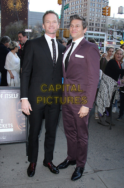 NEW YORK, NY - APRIL 12: Neil Patrick Harris and David Burtka arriving to the opening night of Neil Patrick Harris presents In & Of Itself Identity Is An Illusion at the Daryl Roth Theatre in New York City on April 12, 2017. <br /> CAP/MPI/RW<br /> ©RW/MPI/Capital Pictures