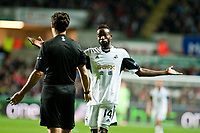 Thursday 28 November  2013  Pictured: Roland Lamah argues with Referee Luca Banti  <br /> Re:UEFA Europa League, Swansea City FC vs Valencia CF  at the Liberty Staduim Swansea
