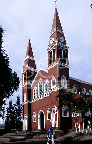 Grecia, Costa Rica. The iron church; painted terra cotta red and white.