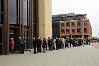 Pictured: A queue of local dignitaries and guests arrive at Swansea University Bay Campus. Saturday 14 October 2017<br /> Re: Hillary Clinton, the former US secretary of state and 2016 American presidential candidate will be presented with an honorary doctorate during a ceremony at Swansea University's Bay Campus in Wales, UK, to recognise her commitment to promoting the rights of families and children around the world.<br /> Mrs Clinton's great grandparents were from south Wales.