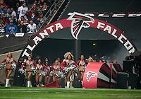 26.10.2014.  London, England.  NFL International Series. Atlanta Falcons versus Detroit Lions.  Falcon's cheerleaders bring on the Falcons Team.