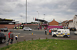 Crusaders 1 Fulham 3, 16/07/2011. Seaview Park, Europa League 2nd qualifying round first leg. An armoured police van on duty outside Seaview Park, Belfast before Northern Irish club Crusaders take on Fulham in a UEFA Europa League 2nd qualifying round, first leg match. The visitors from England won by 3 goals to 1 before a crowd of 3011. Photo by Colin McPherson.