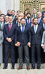(l to r) Javier Ortega Smith, Santiago Abascal and Ivan Espinosa de los Monteros during the Official photo of Parliamentary Group of Vox in Spanish Parlament. November 18 2019. Alterphotos/Francis Gonzalez