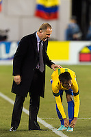 Brazil head coach Mano Menezes talks with Neymar (11). Brazil (BRA) and Colombia (COL) played to a 1-1 tie during international friendly at MetLife Stadium in East Rutherford, NJ, on November 14, 2012.