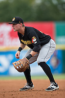 West Virginia Power first baseman Chase Simpson (10) on defense against the Hickory Crawdads at L.P. Frans Stadium on August 15, 2015 in Hickory, North Carolina.  The Power defeated the Crawdads 9-0.  (Brian Westerholt/Four Seam Images)