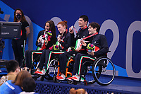 26th August 2021; Tokyo, Japan; Silver medalists of Italy team celebrates on the podium for the Swimming : Mixed 4x50m Freestyle Relay - 20 Points Final - Medal Ceremony on August 26, 2021 during the Tokyo 2020 Paralympic Games at the Tokyo Aquatics Centre in Tokyo, Japan.