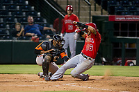 AZL Giants catcher Andres Angulo (1) applies a tag on Angels shortstop Stephen Kerr (16) during a game against the AZL Angels on July 9, 2017 at Diablo Stadium in Tempe, Arizona. AZL Giants defeated the AZL Angels 8-4. (Zachary Lucy/Four Seam Images)