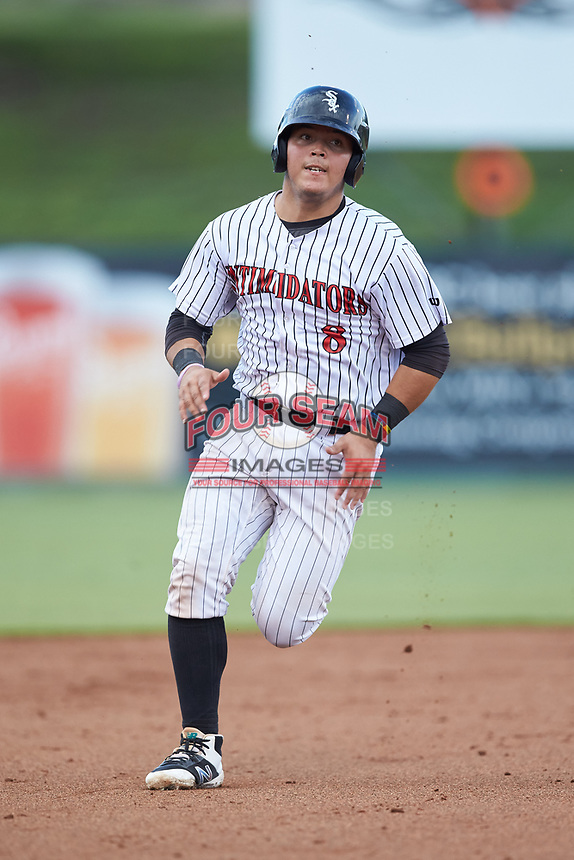 Carlos Perez (8) of the Kannapolis Intimidators hustles towards third base against the West Virginia Power at Kannapolis Intimidators Stadium on July 25, 2018 in Kannapolis, North Carolina. The Intimidators defeated the Power 6-2 in 8 innings in game one of a double-header. (Brian Westerholt/Four Seam Images)