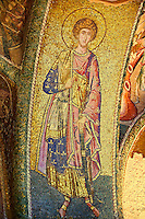 The 11th century Roman Byzantine Church of the Holy Saviour in Chora and its mosaic of Saint George. Endowed between 1315-1321  by the powerful Byzantine statesman and humanist Theodore Metochites. Istanbul