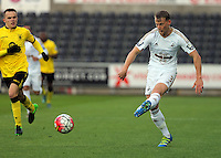 Pictured: Stephen Kingsley of Swansea Monday 25 April 2016<br /> Re: Play Off semi final, Swansea City AFC U21 v Aston Villa FC U21 at the Liberty Stadium, Swansea, UK