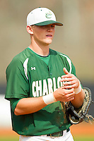Charlotte 49ers first baseman Justin Seager (10) during the game against the Virginia Commonwealth Rams at Robert and Mariam Hayes Stadium on March 30, 2013 in Charlotte, North Carolina.  The 49ers defeated the Rams 9-8 in game one of a double-header.  (Brian Westerholt/Four Seam Images)