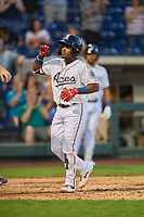 Domingo Leyba (26) of the Reno Aces celebrates his home run during the game against the Nashville Sounds at Greater Nevada Field on June 5, 2019 in Reno, Nevada. The Aces defeated the Sounds 3-2. (Stephen Smith/Four Seam Images)