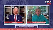 UNDISCLOSED LOCATION -- APRIL 28: In this screen grab Secretary Hillary Clinton joins Vice President Joe Biden for Women's Town Hall on COVID-19 from their homes on April 28, 2020. (Photos by ON-SITEFOTOS)