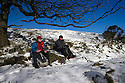 21/11/15<br /> <br /> Walkers enjoy dazzling sunshine and blue skies after overnight snow fall on Mam Tor in the Derbyshire Peak District near Castleton.<br /> <br /> All Rights Reserved: F Stop Press Ltd. +44(0)1335 418365   +44 (0)7765 242650 www.fstoppress.com
