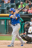 Chris Valaika (4) of the Iowa Cubs at bat against the Salt Lake Bees in Pacific Coast League action at Smith's Ballpark on August 20, 2015 in Salt Lake City, Utah. The Cubs defeated the Bees 13-2. (Stephen Smith/Four Seam Images)