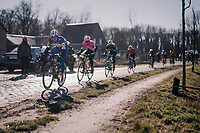 Yves Lampaert (BEL/Quick Step Floors) over the Varent cobbles<br /> <br /> 70th Kuurne-Brussel-Kuurne 2018<br /> Kuurne › Kuurne: 200km (BELGIUM)