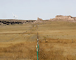 This image provides stark contrast of the new found energy supply of the windy prairie of northeastern Colorado. Hundreds of these modern electric generating windmills fill the horizon of the once barren landscape of the Pawnee National Grasslands.