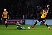 Danny Rose of Mansfield Town vies for possession with Scot Bennett of Newport County during the Sky Bet League Two Play-off Semi Final: First Leg match between Newport County and Mansfield Town at Rodney Parade in Newport, Wales, UK.  Thursday 09 May 2019