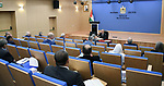 Palestinian Prime Minister Mohammed Ishtayeh chairs the weekly meeting of his government, in the West Bank city of Ramallah on September 13, 2021. Photo by Prime Minister Office