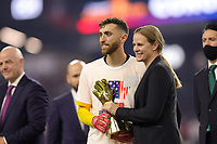 LAS VEGAS, NV - AUGUST 1: Matt Turner #1 of the United States with US Soccer President Cindy Parlow Cone after a game between Mexico and USMNT at Allegiant Stadium on August 1, 2021 in Las Vegas, Nevada.