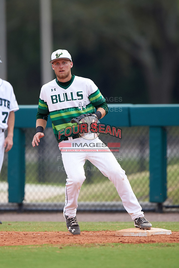 South Florida Bulls first baseman Duke Stunkel Jr. (44) during a game against the Dartmouth Big Green on March 27, 2016 at USF Baseball Stadium in Tampa, Florida.  South Florida defeated Dartmouth 4-0.  (Mike Janes/Four Seam Images)
