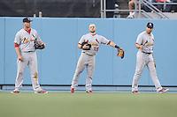 05/20/12 Los Angeles, CA: St. Louis Cardinals left fielder Matt Holliday #7,  center fielder Skip Schumaker #55 and right fielder Carlos Beltran #3 during an MLB game between the St Louis Cardinals and the Los Angeles Dodgers played at Dodger Stadium. The Dodgers defeated the Cardinals 6-5.